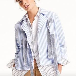 J.Crew Bow-front cropped jacket in mixed stripe